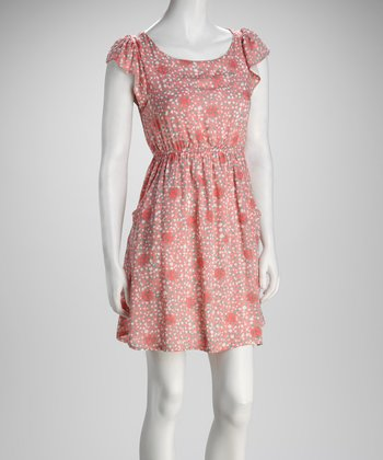 Rose Dot & Heart Angel-Sleeve Dress