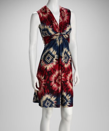 Maroon & Navy Geo Bloom V-Neck Dress