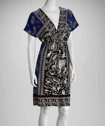 Navy & Black Paisley V-Neck Dress