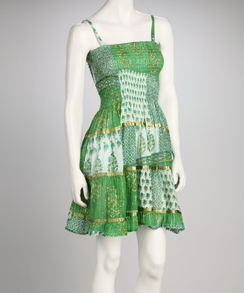 Green Smocked Patchwork Dress