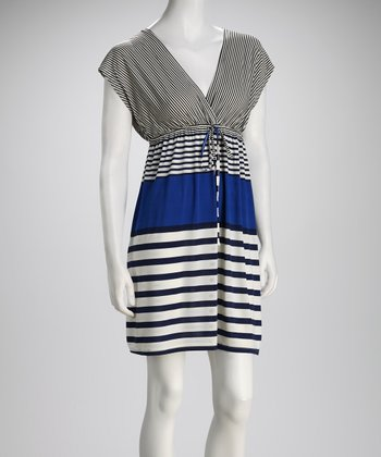 Blue & Navy Stripe Surplice Dress