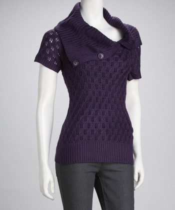 Purple Shawl Collar Tunic