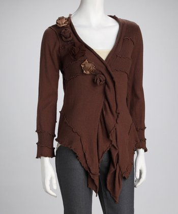 Brown Rose Cardigan