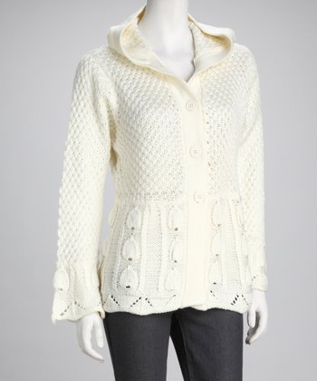 Cream Hooded Cardigan