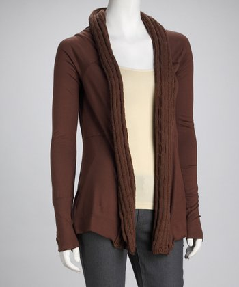Tan Brown Open Cardigan