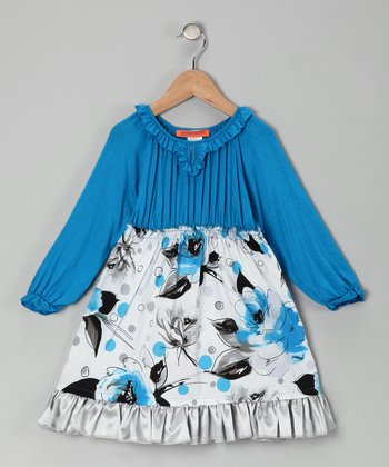 Blue Floral Pleated Ruffle Dress - Toddler