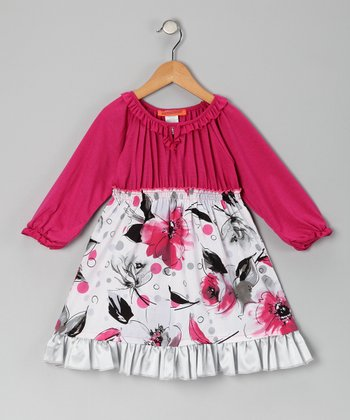 Fuchsia Floral Pleated Ruffle Dress - Toddler