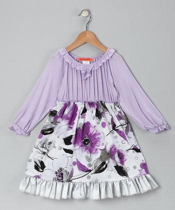 Purple Floral Pleated Ruffle Dress - Toddler