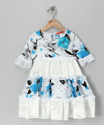Blue & White Tiered Flower Dress - Toddler
