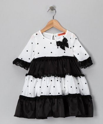 White & Black Tiered Polka Dot Dress - Toddler & Girls