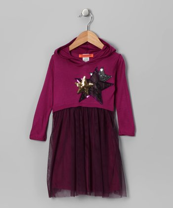 Magenta Star Mesh Dress - Toddler