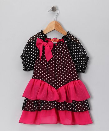 Hot Pink Polka Dot Dress - Toddler