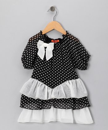 Off-White Polka Dot Dress - Toddler & Girls