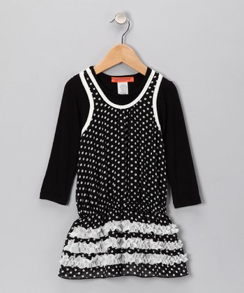 Black & Off-White Polka Dot Chiffon Dress - Toddler