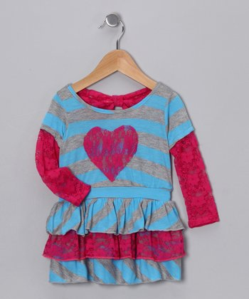 Fuchsia & Light Blue Stripe Ruffle Dress - Toddler & Girls