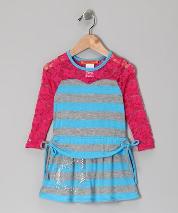 Blue Lace-Sleeve Dress - Toddler