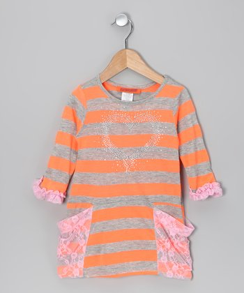 Orange Stripe Lace-Pocket Dress - Toddler