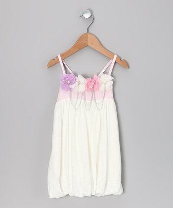 Off-White Flower Chain Dress - Toddler