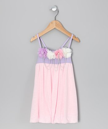 Pink & Lavender Flower Chain Dress - Toddler
