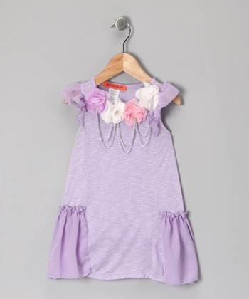 Lavender Rosette Chain Dress - Toddler