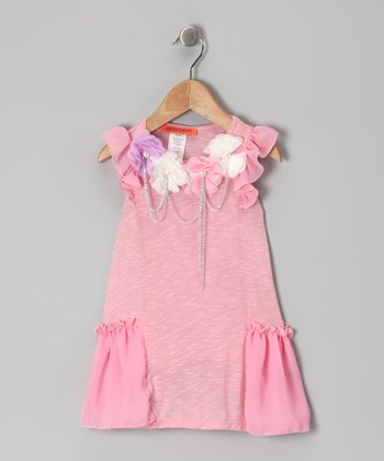 Pink Rosette Chain Dress - Toddler & Girls