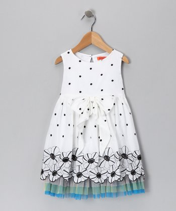 White Flower & Polka Dot Dress - Toddler