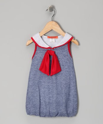 Blue Sailor Bubble Dress - Toddler & Girls