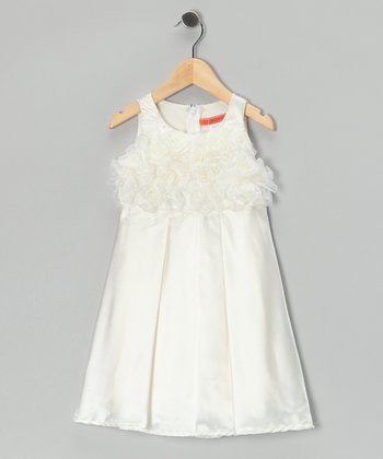 Ivory Pleated Rosette Dress - Girls