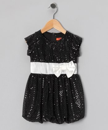 Black & White Sequin Bubble Dress - Toddler