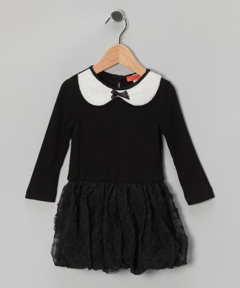 Black & White Sequin Dress - Toddler & Girls