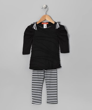 Black Stripe Ruched Tunic & Leggings - Toddler & Girls
