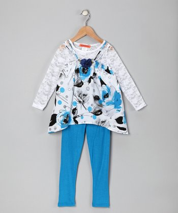 Blue Floral Tunic Set - Toddler & Girls