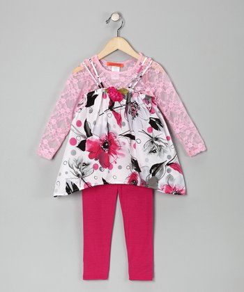 White & Pink Floral Tunic Set - Toddler