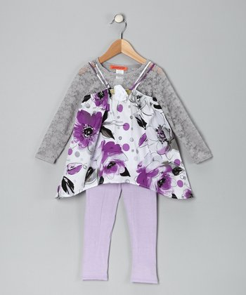 Purple Floral Tunic Set - Toddler & Girls