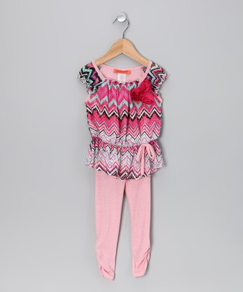 Pink Zigzag Tunic & Leggings - Toddler