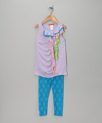 Purple & Blue Ruffle Tunic & Lace Leggings - Toddler