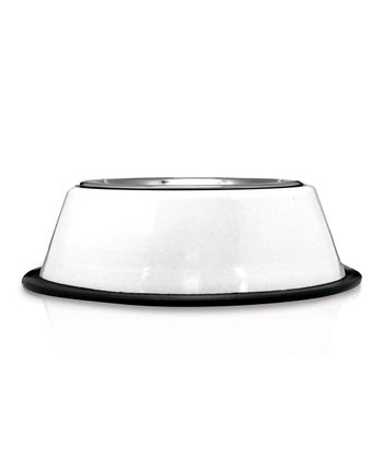 White Stainless Steel Dog Bowl