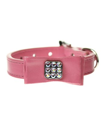 Pink Bow Crystal Swarovski Dog Collar