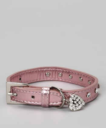 Pink Studded Heart Dog Collar Made With SWAROVSKI ELEMENTS