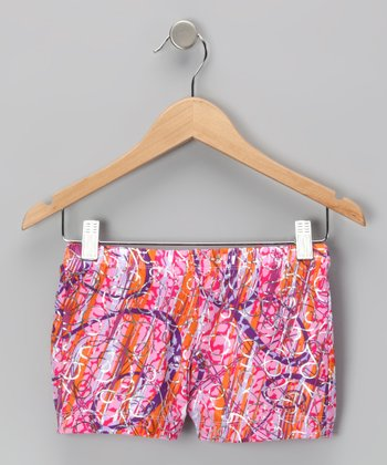 Orange & Pink Jungle Wind Aerial Shorts