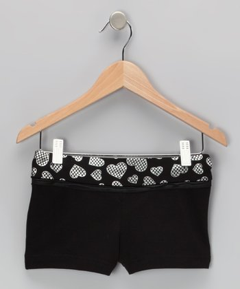 Black Heart Bow Shorts - Girls