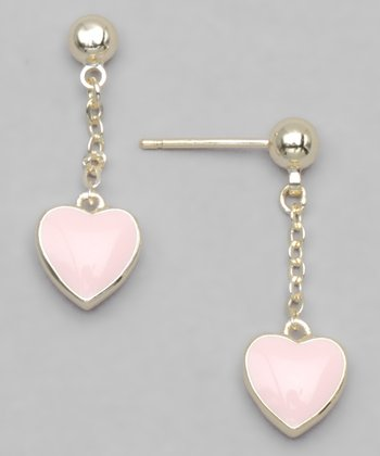 Pink Gold-Plated Heart Earrings