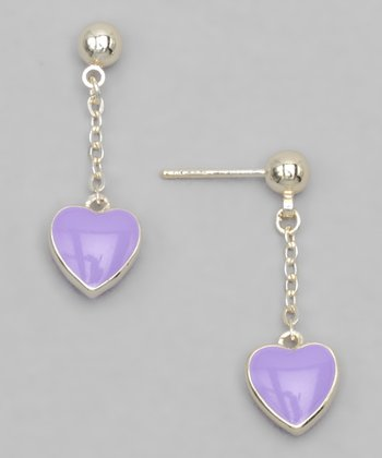 Purple Gold-Plated Heart Earrings