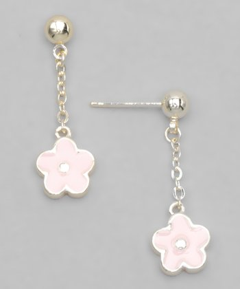 Pink Gold-Plated Flower Earrings