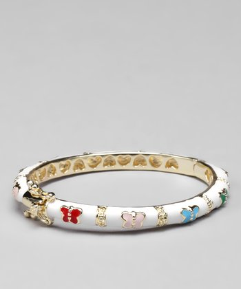 White & Gold Enamel Butterfly Bangle
