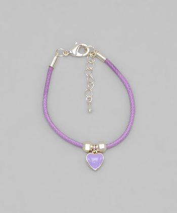 Purple Cord Heart Bracelet