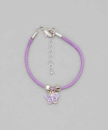Purple Cord Butterfly Bracelet