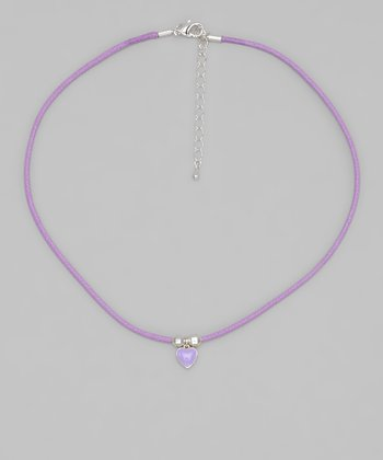Purple Cord Heart Necklace