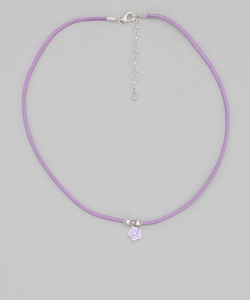 Purple Cord Flower Necklace