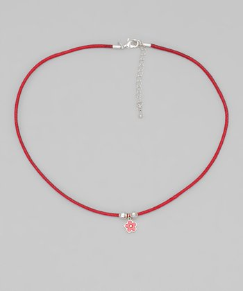 Red Cord Flower Necklace
